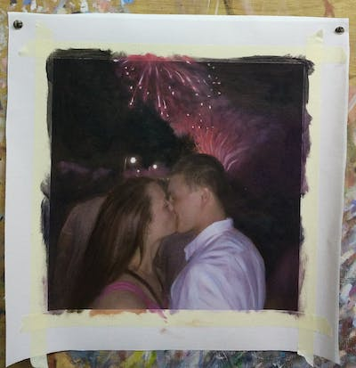 A painting of fireworks, event, ceremony, night, interaction, fête, recreation, darkness, public event, fun