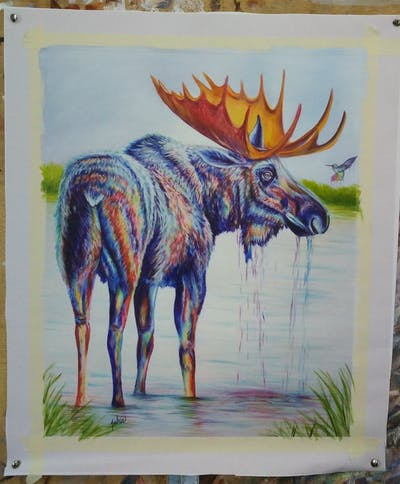 A painting of art, fauna, painting, wildlife, moose, organism, visual arts, illustration, acrylic paint