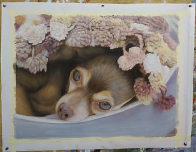 A painting of dog breed, dog, dog like mammal, snout, puppy, carnivoran, dog breed group, chihuahua