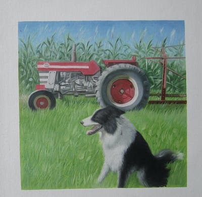 A painting of dog breed, grass, dog breed group, lawn, snout, dog like mammal, wheel, field, agriculture