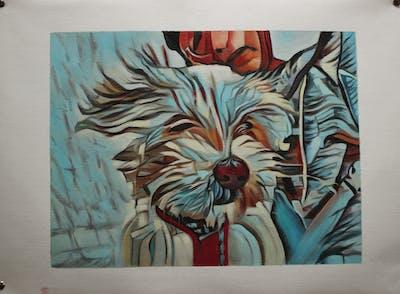A painting of mammal, art, painting, watercolor paint, carnivoran, paint, dog like mammal, visual arts, illustration, acrylic paint