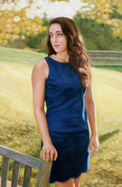 A painting of blue, clothing, photograph, beauty, dress, girl, lady, photo shoot, shoulder, model