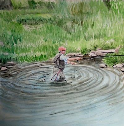 A painting of water, river, water resources, bank, recreational fishing, stream, watercourse, tree, loch, creek