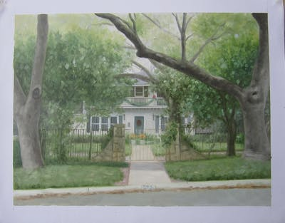 A painting of home, property, house, window, real estate, cottage, siding, tree, plant, estate