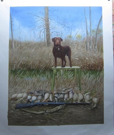 A painting of dog, hunting dog, dog like mammal, grass, sporting group