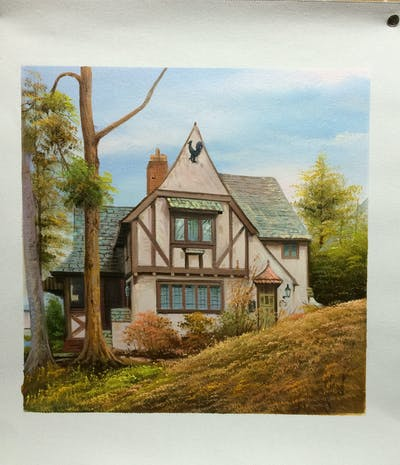 A painting of house, property, home, cottage, real estate, residential area, building, estate, farmhouse, neighbourhood