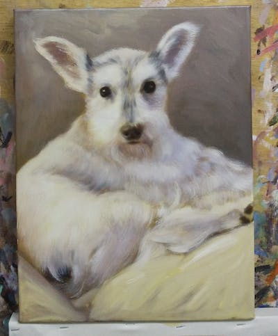 A painting of dog breed, dog, dog like mammal, snout, terrier, miniature schnauzer, schnauzer, carnivoran, companion dog, dog crossbreeds