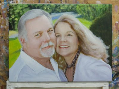 A painting of photograph, facial expression, skin, human hair color, smile, senior citizen, beauty, blond, socialite, fun