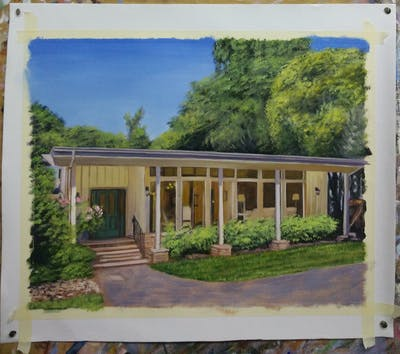 A painting of house, property, home, estate, real estate, cottage, mansion, facade, plantation, farmhouse