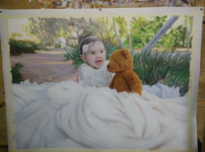 A painting of gown, bride, wedding dress, bridal clothing, child, girl, dress, flower girl, infant, smile