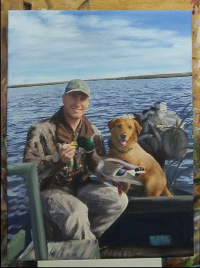 A painting of water, dog, sea, recreation, hunting, fishing, fun, hobby
