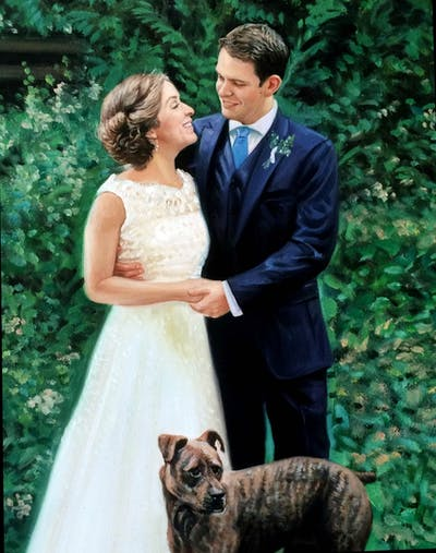 A painting of photograph, woodland, ceremony, wedding, tree, bride, backyard, garden, groom, plant