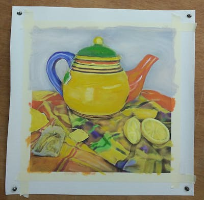 A painting of still life, painting, yellow, teapot, still life photography, tableware, artwork, coffee cup, cup, cup