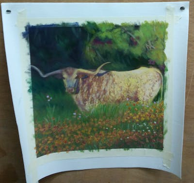 A painting of cattle like mammal, grassland, wildlife, texas longhorn, fauna, ecosystem, pasture, horn, meadow, grazing