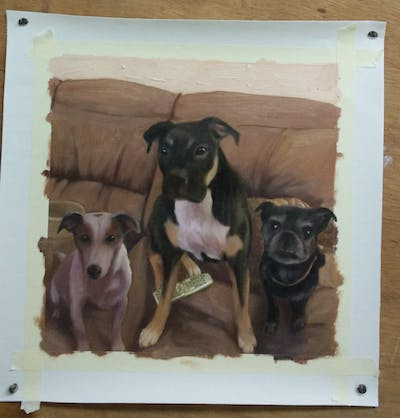 A painting of dog, dog breed, dog like mammal, boston terrier, snout, dog crossbreeds, carnivoran, american pit bull terrier, boxer, dog breed group