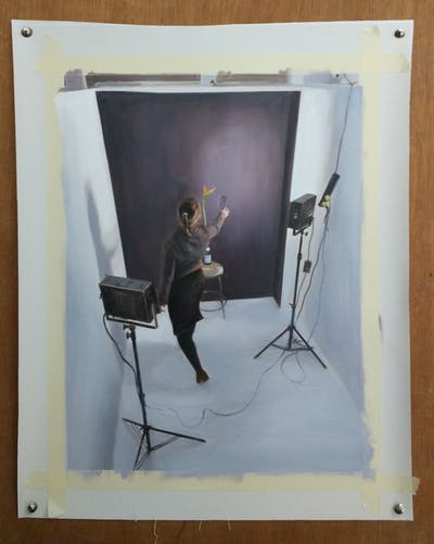 A painting of lighting, technology, product design, lamp, audio equipment, audio, studio