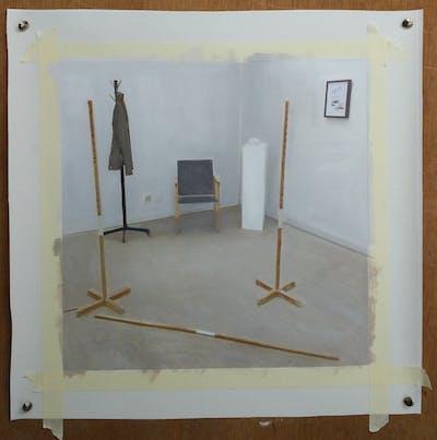 A painting of floor, flooring, wood, table, furniture, product design, hardwood, wood flooring, laminate flooring