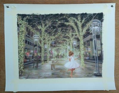 A painting of tree, city, tourist attraction, lighting, plant, night, christmas lights, christmas decoration, recreation, evening