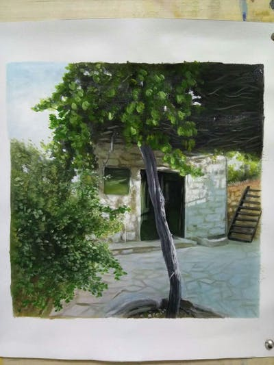 A painting of tree, plant, house, outdoor structure, village, cottage, branch