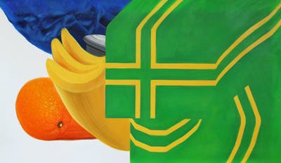 A painting of green, yellow, produce, orange, product, flower, font, fruit, line, product design