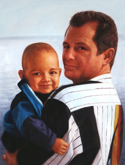 A painting of person, man, day, male, child, fun, father, product, toddler, smile