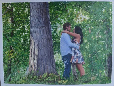 A painting of tree, nature, woody plant, plant, girl, woodland, flower, interaction, fun, grass