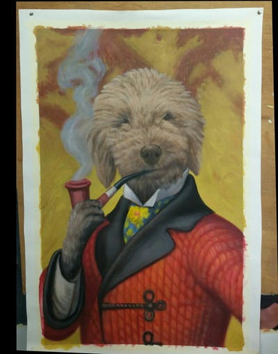 A painting of dog breed, dog, dog like mammal, snout, photo caption, dog crossbreeds, organism, goldendoodle, companion dog, spanish water dog