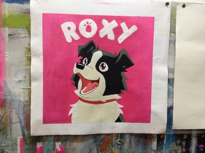A painting of pink, dog like mammal, cartoon, mammal, vertebrate, nose, head, fictional character, illustration, font