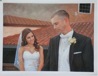 A painting of bride, photograph, veil, gown, wedding dress, bridal clothing, wedding, groom, hair accessory, groom