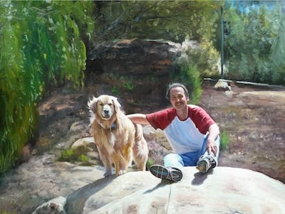 A painting of dog breed group, adventure, tree, recreation