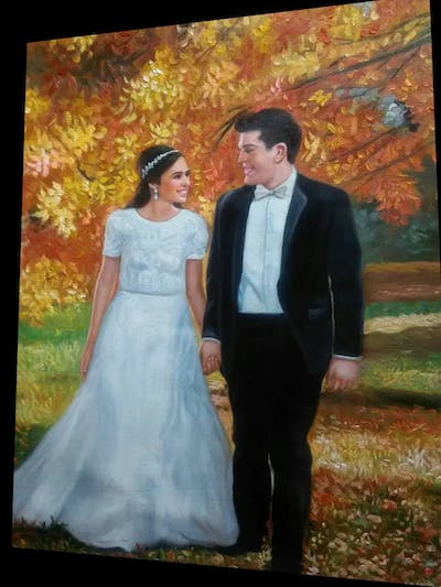 A painting of gown, bride, photograph, man, dress, wedding dress, bridal clothing, autumn, groom, wedding