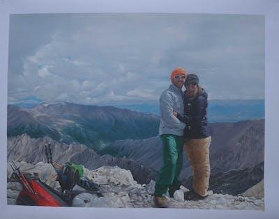 A painting of mountainous landforms, ridge, mountain, outdoor recreation, mountain range, wilderness, mountaineering, adventure, summit, sky