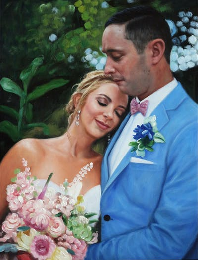 A painting of bride, photograph, flower, flower arranging, flower bouquet, man, wedding, wedding dress, bridal clothing, groom