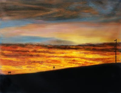 A painting of sky, horizon, afterglow, red sky at morning, dawn, sunset, sunrise, atmosphere, morning, evening