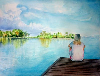 A painting of water, sky, reflection, nature, body of water, sea, cloud, horizon, lake, tree