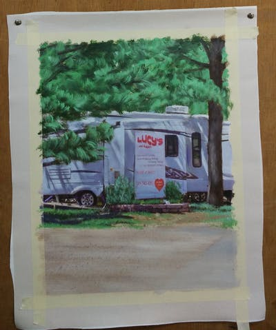 A painting of vehicle, transport, tree, plant, car, motor vehicle, trailer, home, recreation, advertising