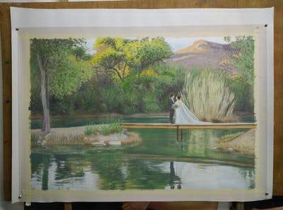 A painting of reflection, nature, water, waterway, nature reserve, tree, pond, reservoir, wetland, bank
