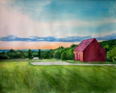 A painting of sky, farm, cloud, property, house, rural area, home, grassland, field, barn