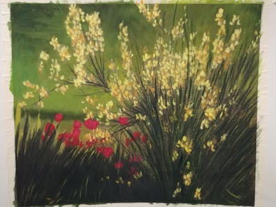A painting of flower, nature, yellow, ecosystem, flora, wildflower, vegetation, grass, leaf, sunlight