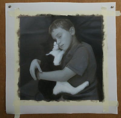 A painting of white, black, photograph, person, face, black and white, sitting, mammal, monochrome photography, girl