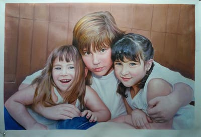 A painting of people, child, girl, fun, smile, family, happiness, sibling, friendship, daughter