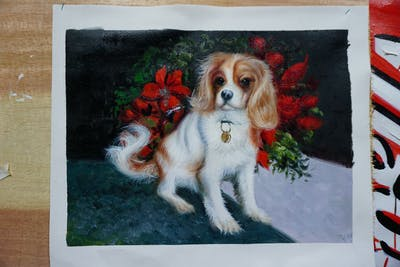 A painting of dog, dog like mammal, king charles spaniel, dog breed, cavalier king charles spaniel, spaniel, dog breed group, carnivoran, dog crossbreeds, snout