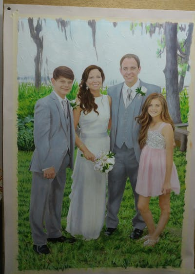 A painting of photograph, gown, bride, flower, wedding dress, wedding, formal wear, dress, groom, ceremony