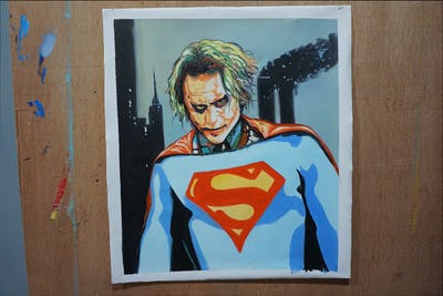 A painting of superhero, fictional character, superman, art, fiction