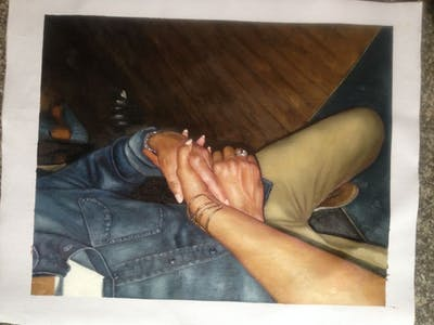 A painting of leg, hand, finger, joint, sitting, fun, shoulder, thigh, arm, human body