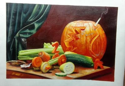 A painting of vegetable, winter squash, calabaza, cucurbita, still life, still life photography, food, vegetarian food, gourd, cucumber gourd and melon family