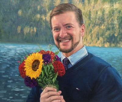A painting of flower, flower arranging, flower bouquet, man, plant, floristry, smile, flora, cut flowers, floral design