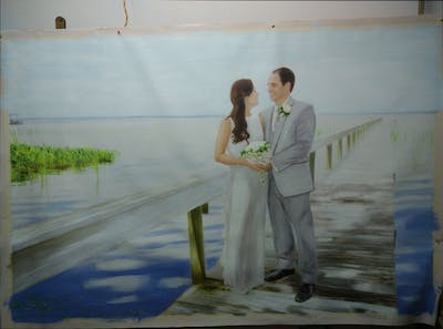 A painting of photograph, bride, gown, wedding dress, wedding, bridal clothing, romance, honeymoon, groom, dress