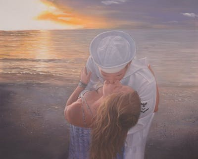 A painting of sea, water, sky, sunlight, vacation, calm, ocean, horizon, sunset, girl