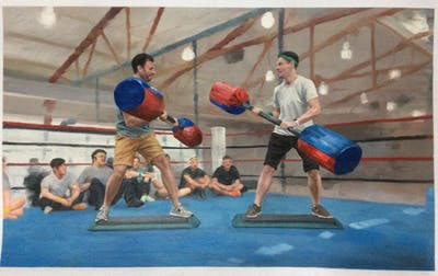 A painting of boxing, sport venue, contact sport, boxing equipment, combat sport, sports, boxing ring, pradal serey, striking combat sports, kickboxing